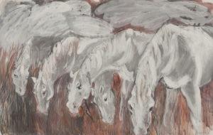 paarden inkt op papier 133x90 met lijst